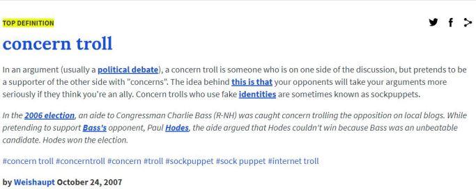 concern troll definition urban dictionary
